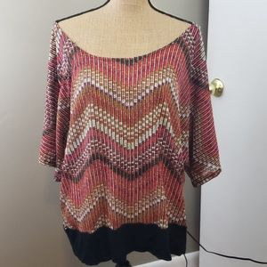 R. Mark's Chevron stripe blouse black waist band